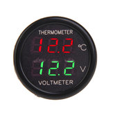 2 In 1 Car Display Dual LED Digital Thermometer Voltmeter 12V