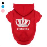 4Colors Winter Pets Dog Princess Crown Printed Clothes Puppy Cat Hoodie Warm Coat