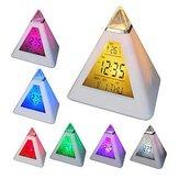 7 colores cambiantes pirámide colorido reloj digital LED despertador calendario tiempo termómetro
