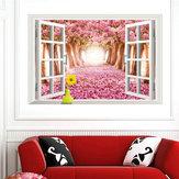 3d نافذة ساكورا عرض للإزالة الجدار ملصق الفن صائق جدارية ديكور المنزل