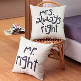 Mr Right Mrs Always Right Creative Signature Cotton Linen Pillow Cover Bed Sofa Car Pillowcase