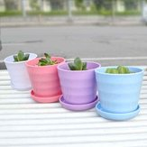 Plastic Thread Flower Pot With Tray Garden Plants Flower Pots