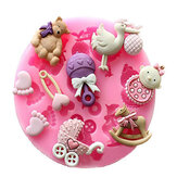 Baby Pram Bear Carrousel Silicone Mould Fondant Cake Decoration Mold