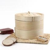 2 Tier Bamboo Steamer Dim Sum Basket Rijst Pasta Keuken Eten Stoomgereedschap