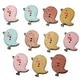 40Pcs Cartoon Mixed Colors Bird Shaped Wooden Colored Buttons