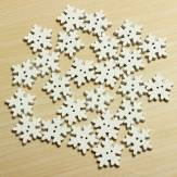 25 Christmas White Wooden Schneeflocke Buttons 2 Löcher DIY Sewing Craft