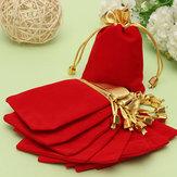 10 قطع الذهبي الأحمر فلنلت الرباط الحقيبة مجوهرات هدية أكياس الحقيبة