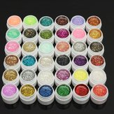 1 pot de 36 couleurs brillent Gel UV art de vernis à ongles