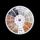 2mm 6 Färger Runda Alloy Nail Art Decoration Wheel