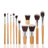 MAANGE 11 sztuk Bamboo Handle Makeup Eyeshadow Brush Set Brush