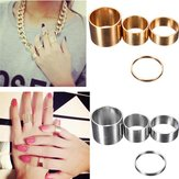 4pcs Gold Silver Circle Lord Knuckle Rings Masters Sun para Mujer