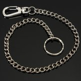 Silver Long Chain Clasp Keyring Metal Waist Belt Keychain