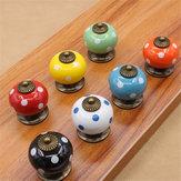 Dot vintage cerâmica rodada gaveta do armário botão puxar lidar com a porta do armário alça