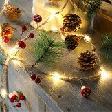 2M Cogumelo Agulha de Pinheiro Pinha Cobre Fio Natal LED Corda Bateria Alimentado Festa de Casamento de Ação de Graças Xmas Sinos Decoração