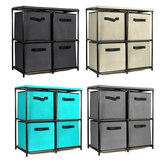 Foldable Storage Cabinet Multi-Layer Combination Cloth Unit Drawer Rack Closet Clothes Books Files Shelf Organizer with 4 Storage Bins