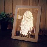 KCASA FL-716 3D Photo Frame Illuminative DOPROWADZIŁO Lampka nocna Drewniana dziewczynka Pulpit Dekoracyjna lampa USB do sypialni Art Decor Prezenty świąteczne