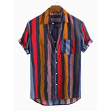 Männer Colorful Streifen Kurzarm Cotton Holiday Casual Shirts