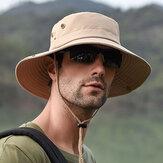 Cubo respirable plegable para hombre Sombrero con cuerda al aire libre pesca Sombrero Gorras de sombrilla de escalada