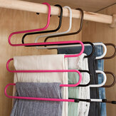 Bakeey Wardrobe Multifunctional S-shaped Wrought Iron Pants Rack Multi-layer Non-slip Pants Clip Men's and Women's Hangers Multi-purpose Scarf Rack