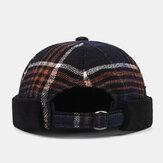 Collrown للجنسين عارضة النمط البريطاني شعرية المشارب نمط بدون حافة قبعة الجمجمة المالك قبعة قبعة صغيرة