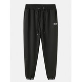 Mens Cotton Letter Print Black Drawstring Sport Black Jogger Pants With Pocket