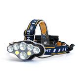 XANES®2606-8A3300LM2T6+4 * XPE + 2 * COB LED Faros delanteros 8 modos con 2 * 18650 Baterías cámping Linterna de emergencia para ciclismo recargable