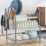 3 Tiers Dish Plate Cup Drying Rack Organizer Drainer Storage Holder For Kitchen