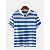Mens Stripe Stand Collar Short Sleeve Casual Henley Shirts