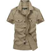 Military Style Chest Pockets Short Sleeve Cotton Work Shirt