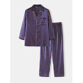 Mens Basic Striped Silk Thin Long Sleeve Home Casual Pajama Set