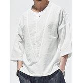 Erkek 100% Pamuk Katı Henley Yaka Orta Kollu Gömlek