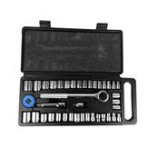 40Pcs Socket Wrench Set Combination Hand Tool Kit Socket Wrench Set Sockets Tool DIY Metalworking Repairing Tool