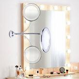 LED Mirror Makeup Mirror 10X Magnifying Vanity Mirror Adjustable 360-Degree Rotating Flexible Sucker espelho Shaving Mirror