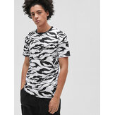 Loose Mens Leopard Print Round Neck Short Sleeve Sport T-Shirts