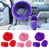 Winter Furry Car Steering Wheel + Gear Knob Shifter Parking Brake Covers Set 3Pcs