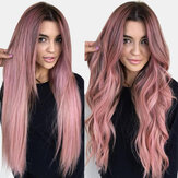 Pink Gradient Long Curly Hair High Temperature Fiber Fluffy Breathable Bangs Wigs