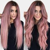 Розовый градиент длинные вьющиеся Волосы высокотемпературные волокна пушистые дышащие челки парики