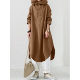 Women High Low Slit Hem Button Solid Color Hooded Midi Dress With Pocket