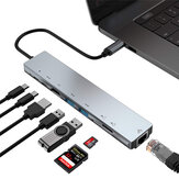 Bakeey 8-in-1 USB-C Hub Docking Station Adapter Dengan 4K HDMI HD Display / 87W USB-C PD3.0 Pengiriman Daya / USB-C Transmisi Data / 2 * USB 3.0 / RJ45 Gigabit Ethernet / Pembaca Kartu Memori