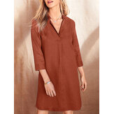 Women Cotton Solid Color Lapel Collar Simple 3/4 Sleeve Shirt Dresses
