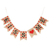 Jute Vintage Hessian Burlap Bunting Banner Romantic Love Heart Wedding Party Flags Photography Props