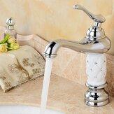 Современный латунный финиш белый с одной ручкой Ванная комната смеситель для кухонной раковины
