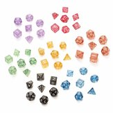 7PCS TRPG Game Dungeons & Dragons Glitter D4-D20 Multi Sides Dice Pink