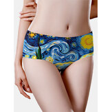 Seamless Women Oil Painting Starry Sky Print Mid Waisted Breathable Panties