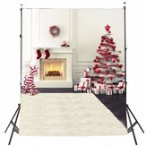 5x7FT Vinyl Christmas Tree Fireplace Stocking Photography Backdrop Background Studio Prop