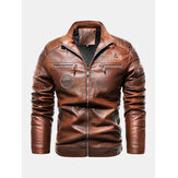 Mens Pattern Patched Letter Print Snap Button Zip Baseball Collar PU Jacket