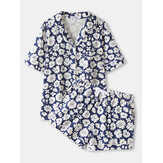 Plus Size Women Daisy Floral Print Revere Collar Chest Pocket Short Sleeve Home Pajama Set