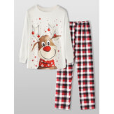 Christmas Style Women Cute Elk Print Pullover Plaid Elastic Loose Waist Pants Home Pajama Set