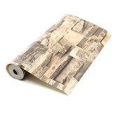 10mx0.53m 3D Realistic Retro Stacked Brick Stone Vinyl Background Wall Paper Khaki