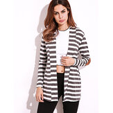 Casual Women Shawl Collar Elbow Patch Striped Cardigan à manches ouvertes à manches longues